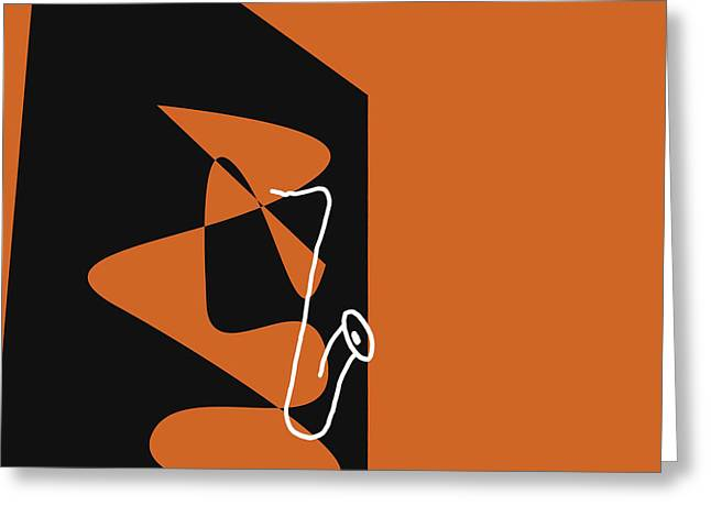 Saxophone In Orange Greeting Card by David Bridburg