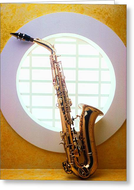 Mood Greeting Cards - Saxophone in round window Greeting Card by Garry Gay