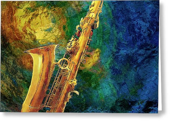 Saxophone Greeting Card by Jack Zulli