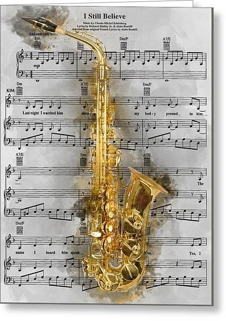 Saxophone Music 1 - By Diana Van Greeting Card by Diana Van