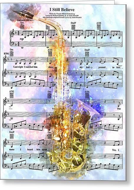 Saxophone Music 2 - By Diana Van Greeting Card by Diana Van