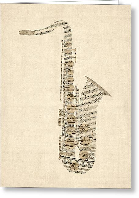 Saxophone Old Sheet Music Greeting Card by Michael Tompsett