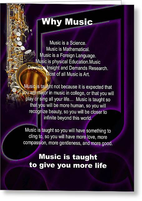 Saxophone Photograph Why Music For T-shirts Posters 4819.02 Greeting Card