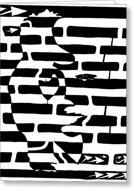 Maze Mixed Media Greeting Cards - Saxophone Player or Woman Maze Greeting Card by Yonatan Frimer Maze Artist