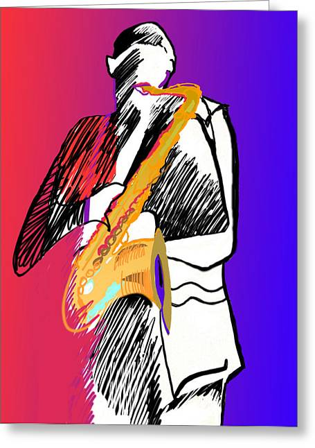 Saxophone Player Greeting Card