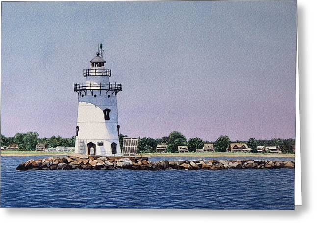 Saybrook Lighthouse Greeting Card by Sharon Farber