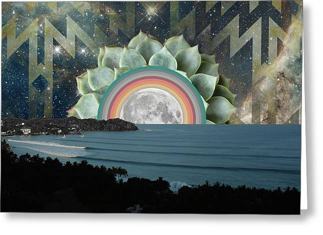 Sayulita Succulent Moonrise Greeting Card