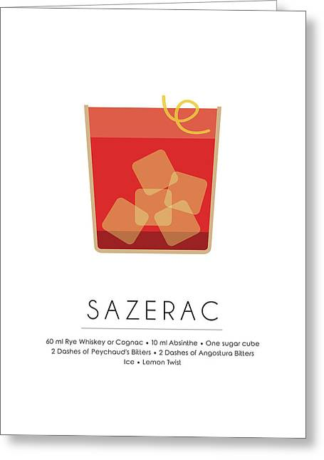 Sazerac Classic Cocktail Minimalist Print Greeting Card