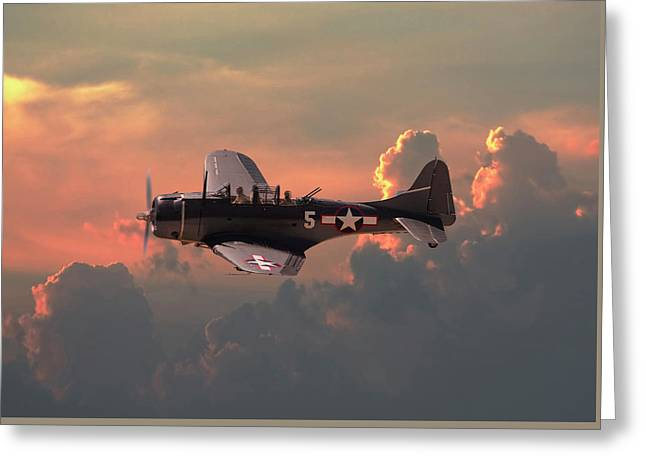Greeting Card featuring the digital art  Sbd - Dauntless by Pat Speirs