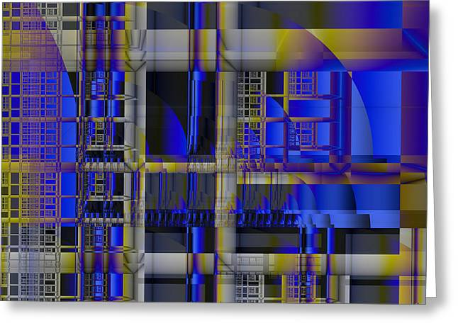 Greeting Card featuring the digital art Scaffold II by Richard Ortolano