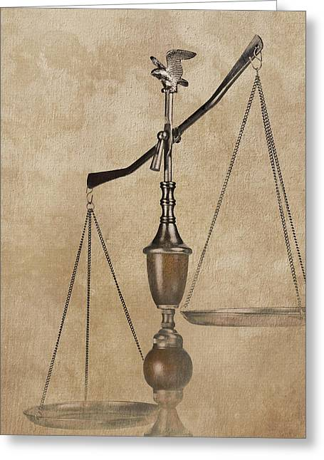 Scales Of Justice Greeting Card by Tom Mc Nemar