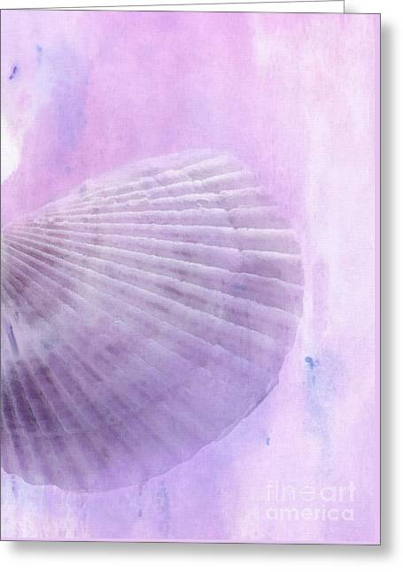 Scallop Sea Shell In Purple Greeting Card by Betty LaRue