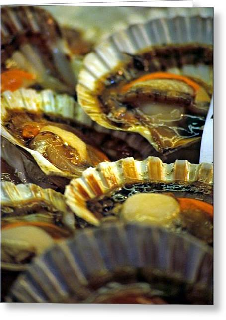 Scallops At Rialto Market In Venice Greeting Card by Michael Henderson