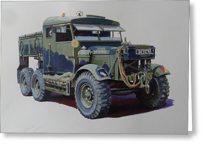 Greeting Card featuring the painting Scammell Pioneer Wrecker. by Mike  Jeffries