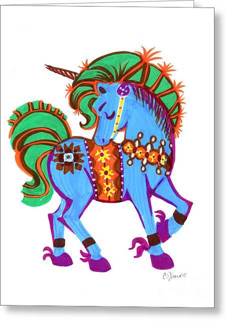 Scandinavian Dala Unicorn Blue Greeting Card by Christina Siravo