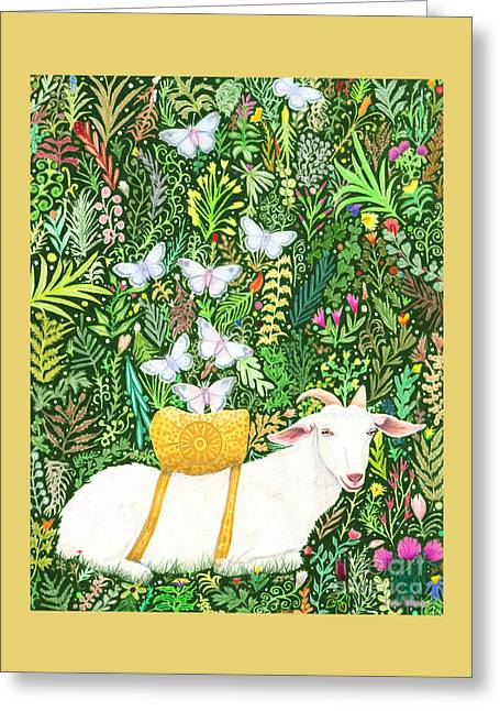 Greeting Card featuring the painting Scapegoat Healing by Lise Winne