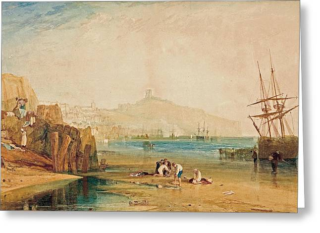 Scarborough Town And Castle Greeting Card by Joseph Mallord William Turner