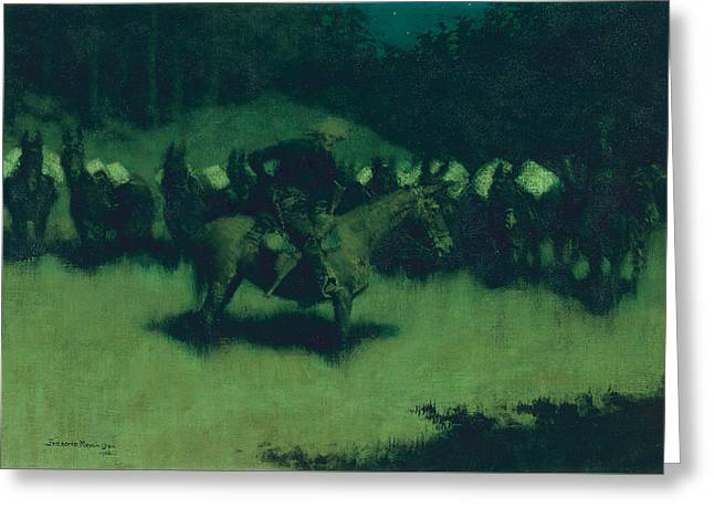 Scare In A Pack Train Greeting Card by Frederic Remington