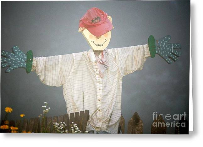 Scarecrow In Fog Greeting Card by Diane E Berry