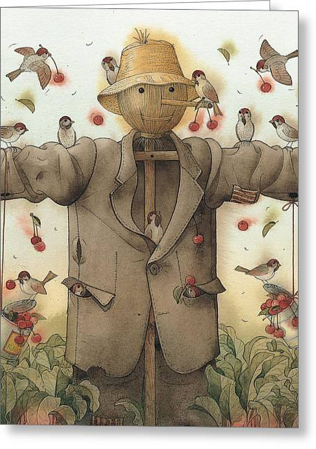 Scarecrow  Greeting Card by Kestutis Kasparavicius
