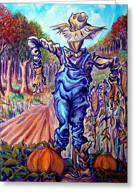 Scarecrow Greeting Card by Kevin Middleton