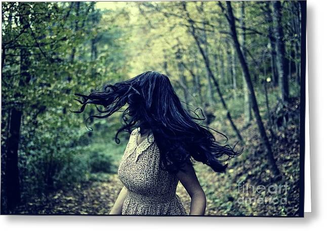 Scared Girl Running In The Forest Greeting Card
