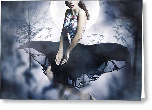 Scared Young Woman In Eerie Halloween Forest  Greeting Card by Jorgo Photography - Wall Art Gallery
