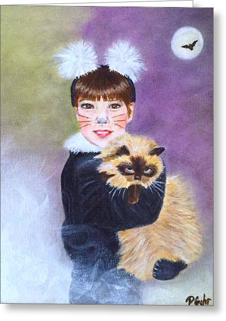 Scaredy Cat Hallows Eve Greeting Card