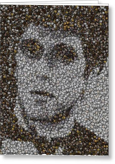 Greeting Card featuring the mixed media Scarface Coins Mosaic by Paul Van Scott