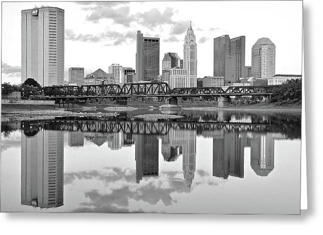 Greeting Card featuring the photograph Scarlet And Columbus Gray by Frozen in Time Fine Art Photography