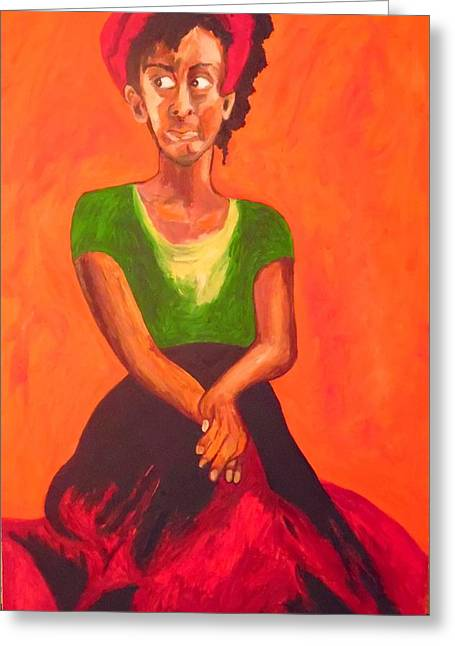 Greeting Card featuring the painting Scarlet by Esther Newman-Cohen