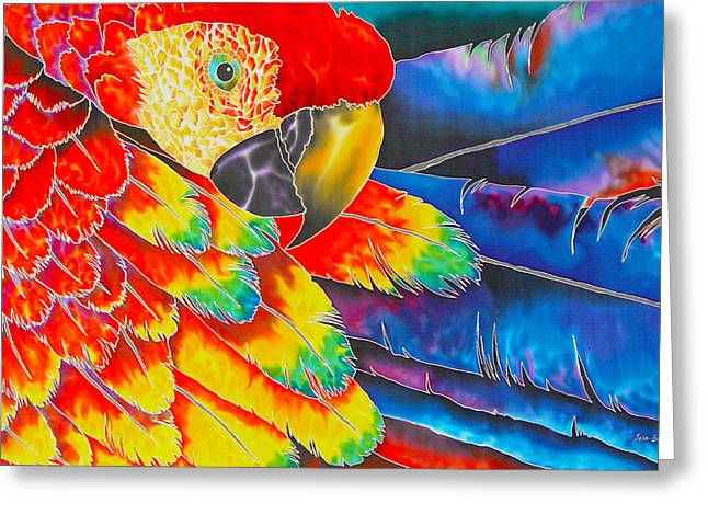 Flying Bird Tapestries - Textiles Greeting Cards - Scarlet Macaw Greeting Card by Daniel Jean-Baptiste