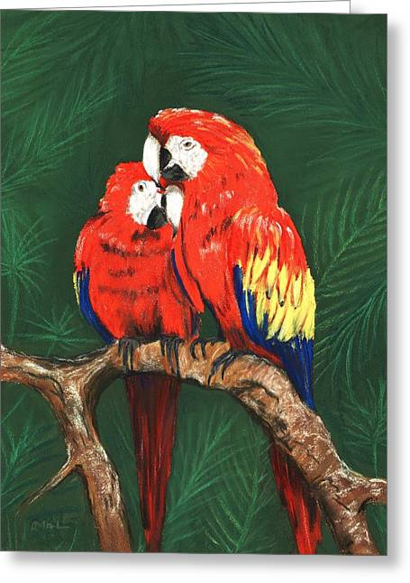 Greeting Card featuring the painting Scarlet Macaws by Anastasiya Malakhova