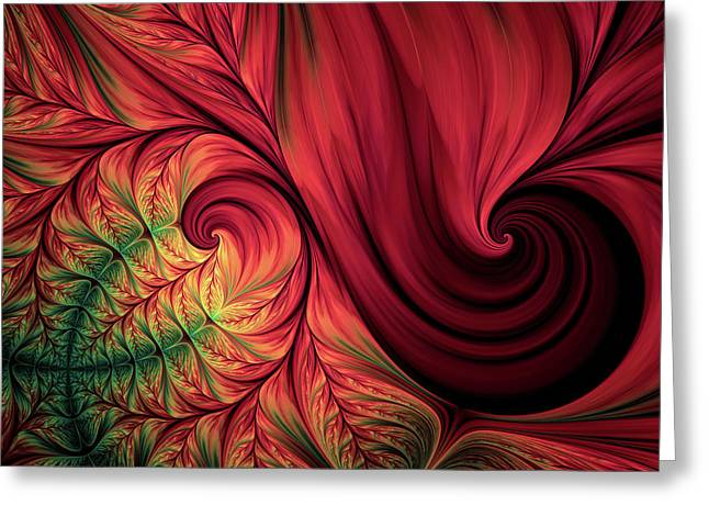 Scarlet Passion Abstract Greeting Card by Georgiana Romanovna