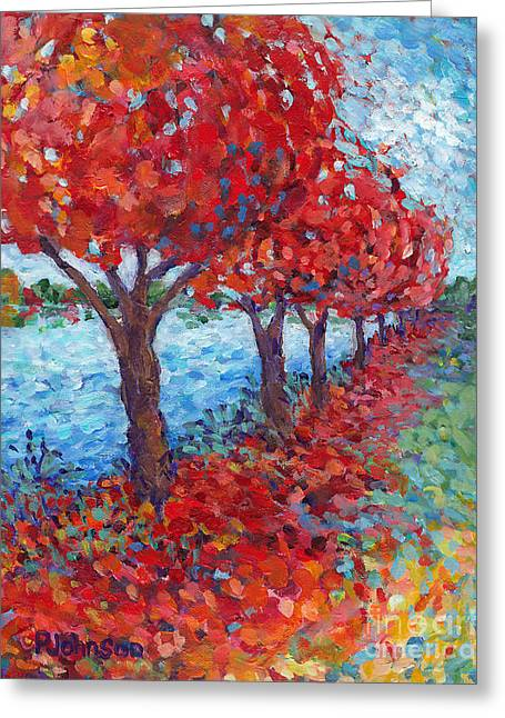 Scarlet Path Greeting Card by Peggy Johnson