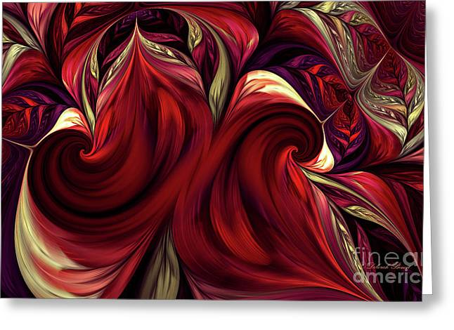 Greeting Card featuring the digital art Scarlet Red by Deborah Benoit