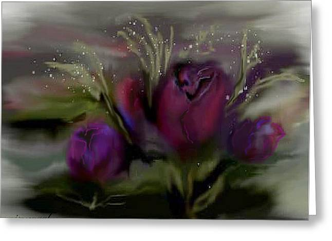 Scarlet Roses Greeting Card by June Pressly