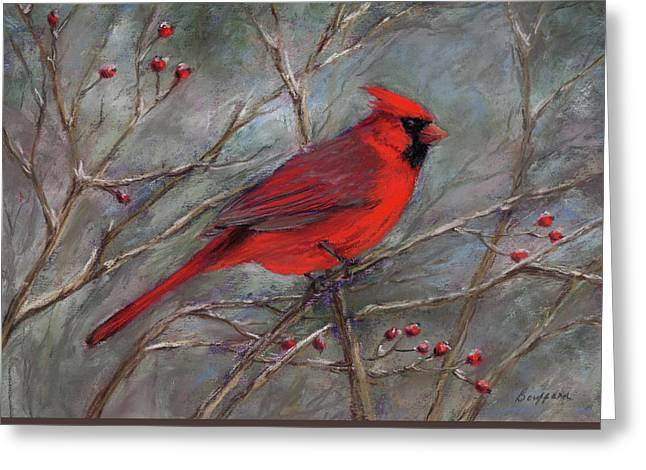 Scarlet Sentinel Greeting Card by Vikki Bouffard