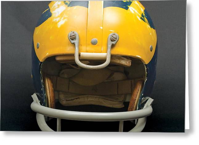 Greeting Card featuring the photograph Scarred 1970s Wolverine Helmet by Michigan Helmet
