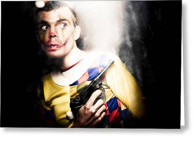 Scary Clown Standing In Shadows With Smoking Gun Greeting Card by Jorgo Photography - Wall Art Gallery