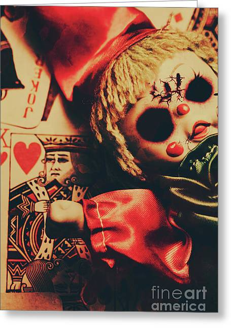 Scary Doll Dressed As Joker On Playing Card Greeting Card by Jorgo Photography - Wall Art Gallery