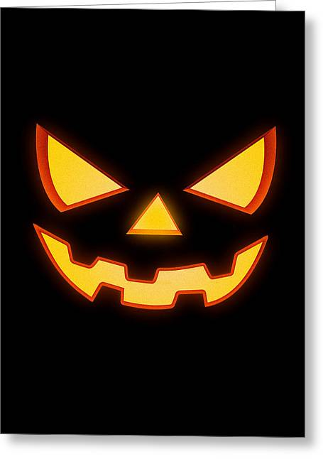 Scary Halloween Horror Pumpkin Face Greeting Card