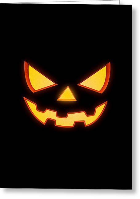 Scary Halloween Horror Pumpkin Face Greeting Card
