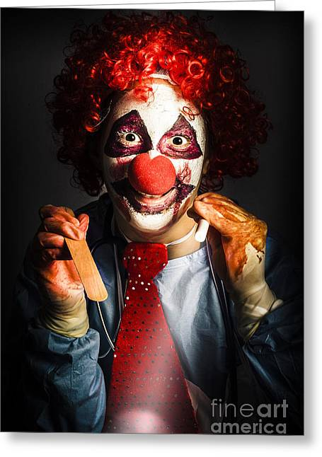 Scary Medical Clown Doctor Examining Health Victim Greeting Card by Jorgo Photography - Wall Art Gallery