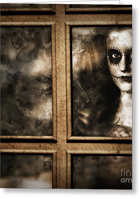 Scary Murderer Standing By The Window With Handgun Greeting Card by Jorgo Photography - Wall Art Gallery
