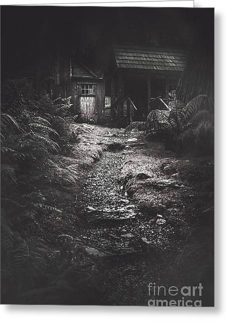 Scary Old Abandoned Hut In Creepy Deserted Forest Greeting Card by Jorgo Photography - Wall Art Gallery