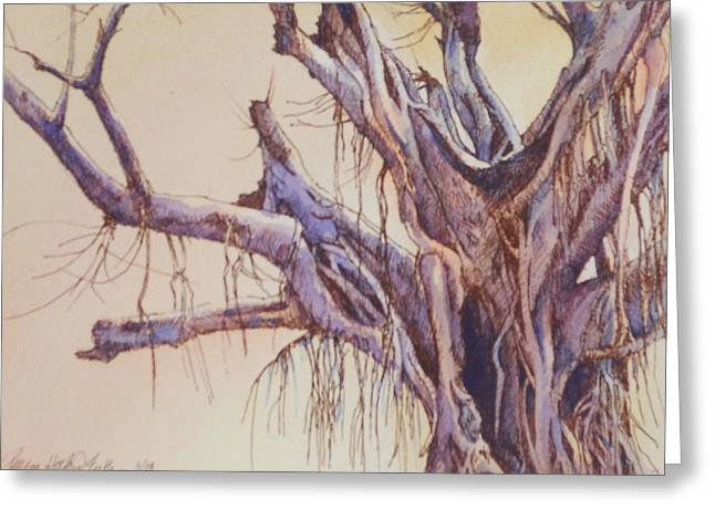 """""""jungle Vines"""" Greeting Cards - Scary Tree Inked Greeting Card by Peggy Hosford Masce"""