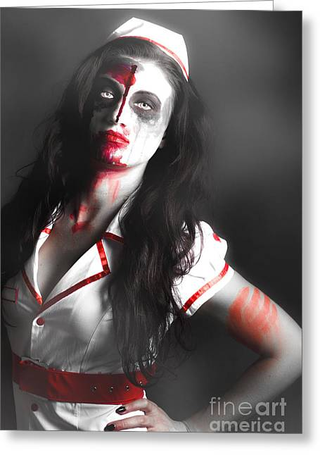 Scary Zombie Nurse With Facial Wounds Greeting Card by Jorgo Photography - Wall Art Gallery