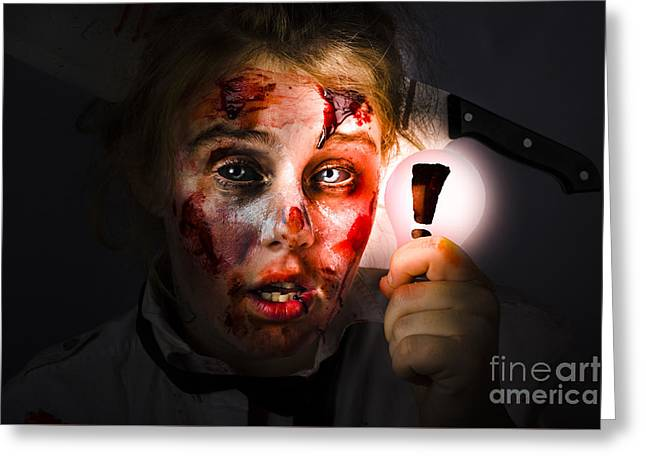 Scary Zombie With Halloween Idea Light Bulb Greeting Card by Jorgo Photography - Wall Art Gallery