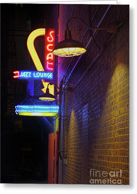 Greeting Card featuring the photograph Scat Jazz Lounge 2 by Elena Nosyreva